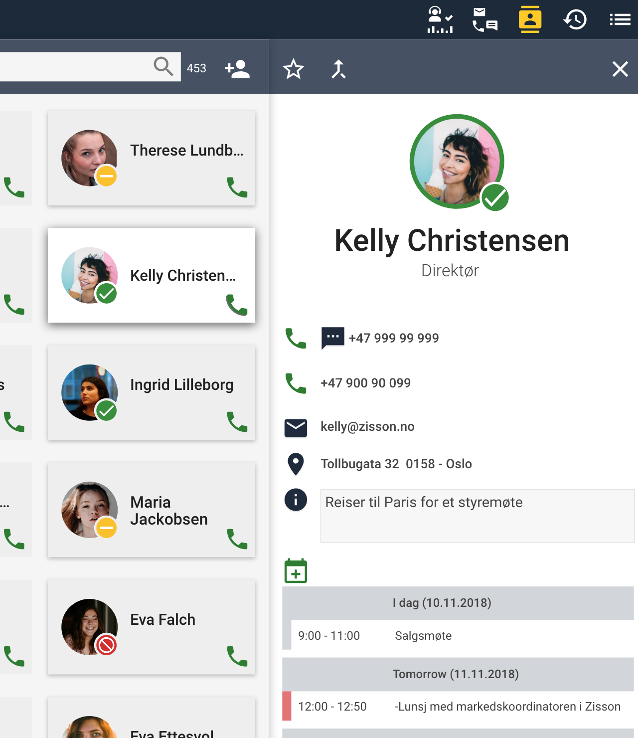 UI - Contacts