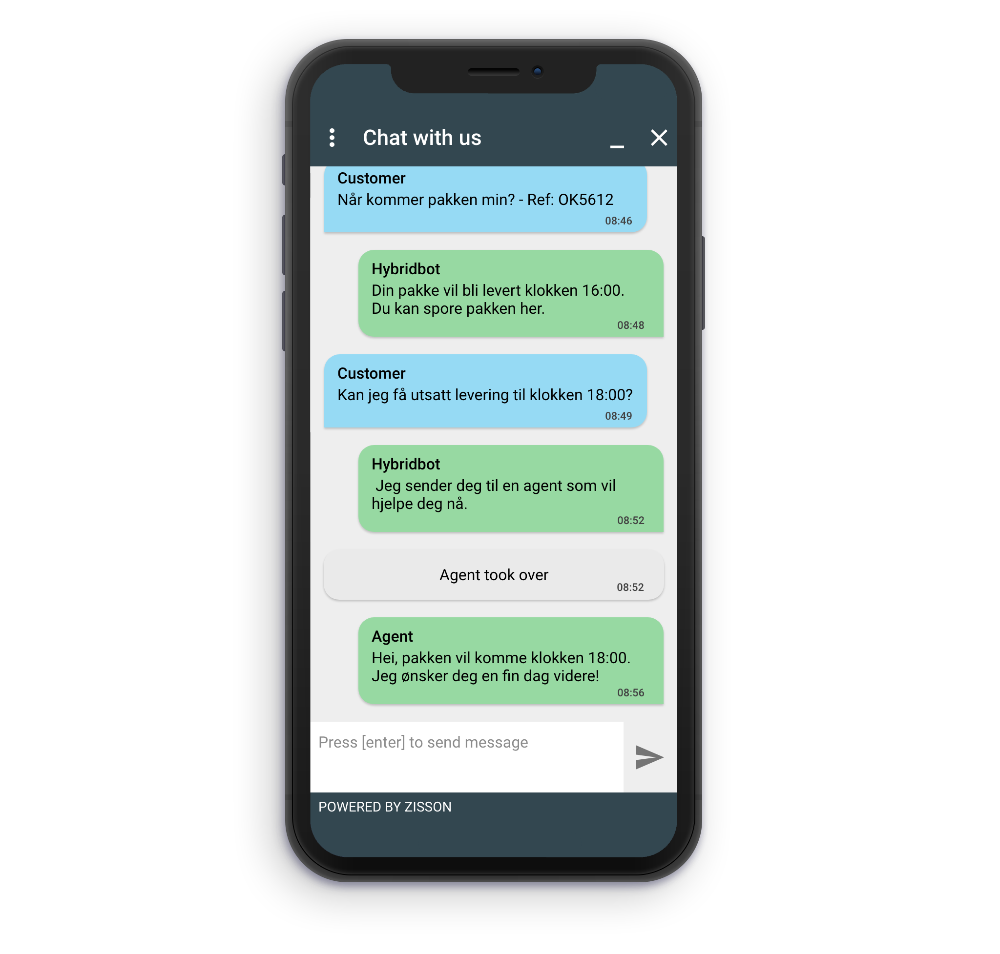 Iphone with chatbot conversation